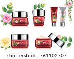 red rose cosmetic packaging | Shutterstock .eps vector #761102707
