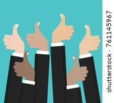 thumbs up. like hands sign... | Shutterstock .eps vector #761145967