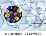 fairy lights and christmas... | Shutterstock . vector #761149807