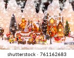 santa claus  christmas tree and ... | Shutterstock . vector #761162683