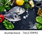 fresh fish dorado top view.... | Shutterstock . vector #761170993