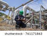 male worker inspection visual... | Shutterstock . vector #761171863