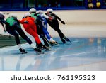 back women skaters compete mass ... | Shutterstock . vector #761195323