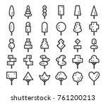 ornamental tree line icon set...   Shutterstock .eps vector #761200213