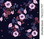 trendy  floral pattern in the... | Shutterstock .eps vector #761211757