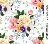 floral seamless pattern | Shutterstock .eps vector #761212027