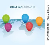 world map infographic with... | Shutterstock .eps vector #761215177