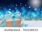 christmas gift or new year with ... | Shutterstock . vector #761218213