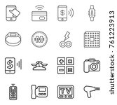 thin line icon set   touch  tap ... | Shutterstock .eps vector #761223913