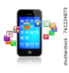 mobile smart phone with... | Shutterstock . vector #761224873
