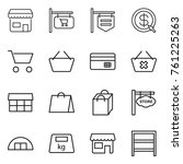 thin line icon set   shop ... | Shutterstock .eps vector #761225263