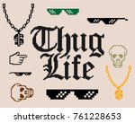 set with different thug life... | Shutterstock .eps vector #761228653