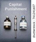 vintage syringe and drugs used... | Shutterstock . vector #761241607