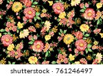 watercolor flower pattern...   Shutterstock . vector #761246497