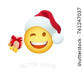 santa claus smiley give a small ... | Shutterstock .eps vector #761247037