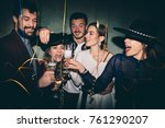 group of happy friends drinking ... | Shutterstock . vector #761290207