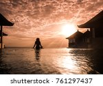 silhouette on luxury infinity... | Shutterstock . vector #761297437