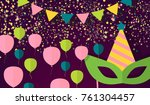 party celebration banner  flat... | Shutterstock .eps vector #761304457