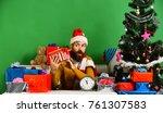 santa holds gift box. santa...   Shutterstock . vector #761307583