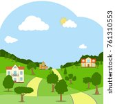 a rural landscape with houses ... | Shutterstock .eps vector #761310553