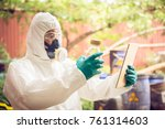 asian scientist wear chemical... | Shutterstock . vector #761314603