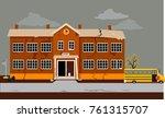 exterior of a school building... | Shutterstock .eps vector #761315707