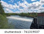 spillway of hydroelectric power ... | Shutterstock . vector #761319037