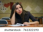 tired and bored wistful student ... | Shutterstock . vector #761322193