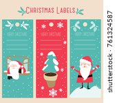 christmas labels and decoration  | Shutterstock .eps vector #761324587