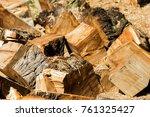 wooden logs close up in... | Shutterstock . vector #761325427