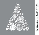stylized christmas tree vector | Shutterstock .eps vector #761326933