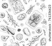 gourmet snacks seamless pattern.... | Shutterstock .eps vector #761336623