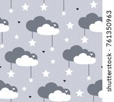 seamless grey clouds pattern... | Shutterstock .eps vector #761350963