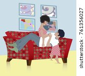 young man lying on his wife's... | Shutterstock .eps vector #761356027