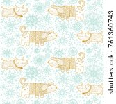 dog pattern. christmas puppy... | Shutterstock .eps vector #761360743