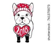 cute vector dog in winter... | Shutterstock .eps vector #761370073
