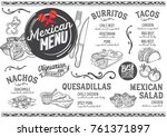 mexican menu for restaurant and ... | Shutterstock .eps vector #761371897