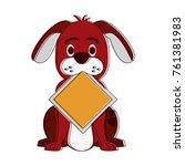 dog with roadsign cartoon | Shutterstock .eps vector #761381983
