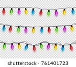 christmas glowing lights on... | Shutterstock .eps vector #761401723