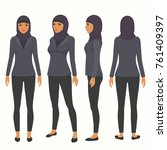 muslim woman  vector arab... | Shutterstock .eps vector #761409397