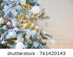 white christmas. gold and... | Shutterstock . vector #761420143