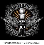 vintage motorcycle t shirt... | Shutterstock .eps vector #761428063