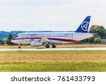 Small photo of The Zhukovsky Airfield, Moscow region, Russia - August 19, 2009: Passenger regional aircraft Superjet 100 (Sukhoi Superjet-100) on the runway. MAKS 2009