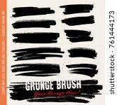 black ink brush strokes ... | Shutterstock .eps vector #761444173