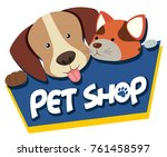 Stock vector pet shop sign with cute dog and cat illustration 761458597