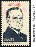 Small photo of UNITED STATES OF AMERICA - CIRCA 1986: stamp printed in USA shows 30th president Calvin Coolidge (1923-1929); Presidents; Ameripex 86; Scott 2219 A1599 22c; circa 1986
