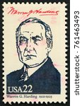 Small photo of UNITED STATES OF AMERICA - CIRCA 1986: stamp printed in USA shows 29th president Warren G. Harding (1921-1923); Presidents; Ameripex 86; Scott 2219 A1599 22c; circa 1986