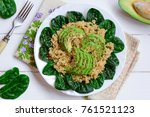 quinoa  avocado and spinach... | Shutterstock . vector #761521123