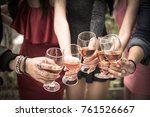group of people holding glasses ... | Shutterstock . vector #761526667