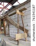 internal wooden scaffolding...   Shutterstock . vector #761541187
